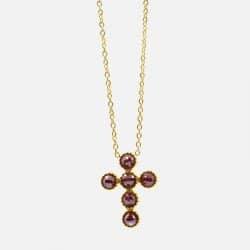 Collier Court Acier Inoxydable Croix Perles