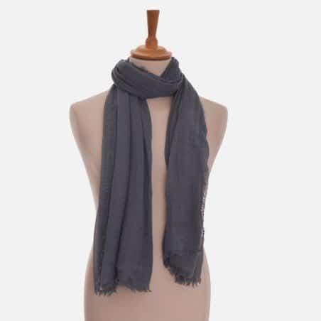 Foulard Unis Mixte Couleur Gris 90 X 180 Cm 30 % Coton 70 % Viscose