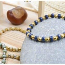 Bracelet Acier Inoxydable Et Perles En Céramique