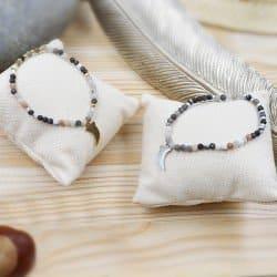Bracelet Acier Inoxydable Avec Pierre Naturelles Et Pendentif Corne