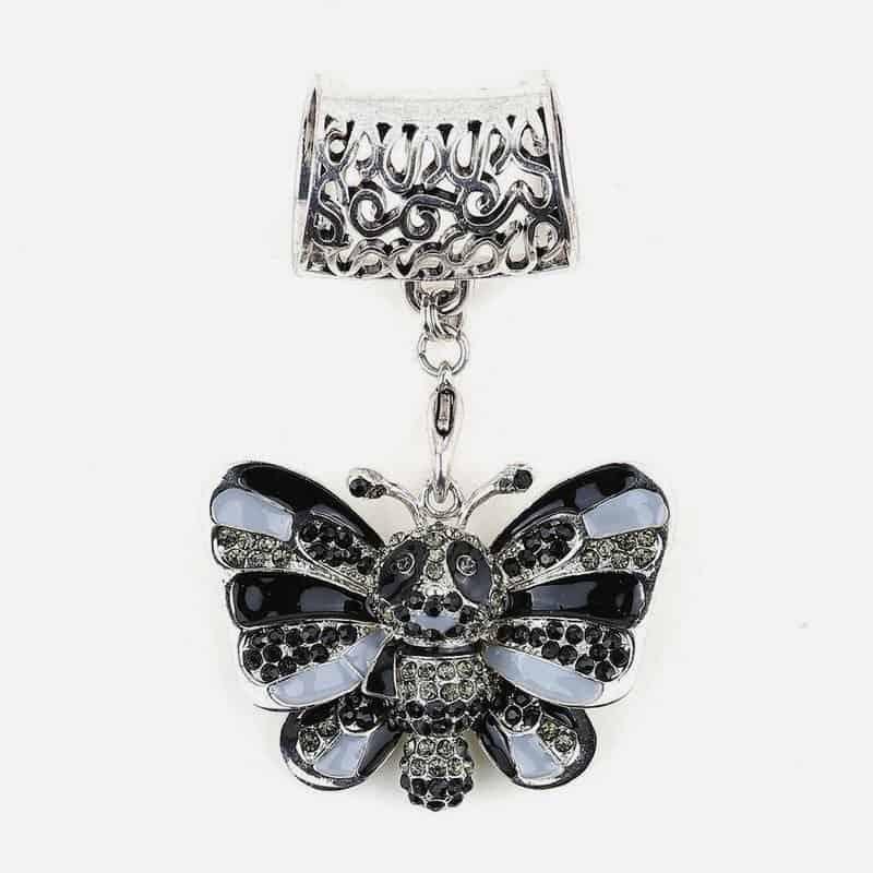Bijou De Foulard Papillon Avec Strass 5.5 X 4 Cm