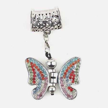 Bijou De Foulard Papillon Avec Strass 6 X 4 Cm