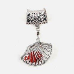 Bijou De Foulard Coquillage Avec Perles 4.5 X 5.5 Cm