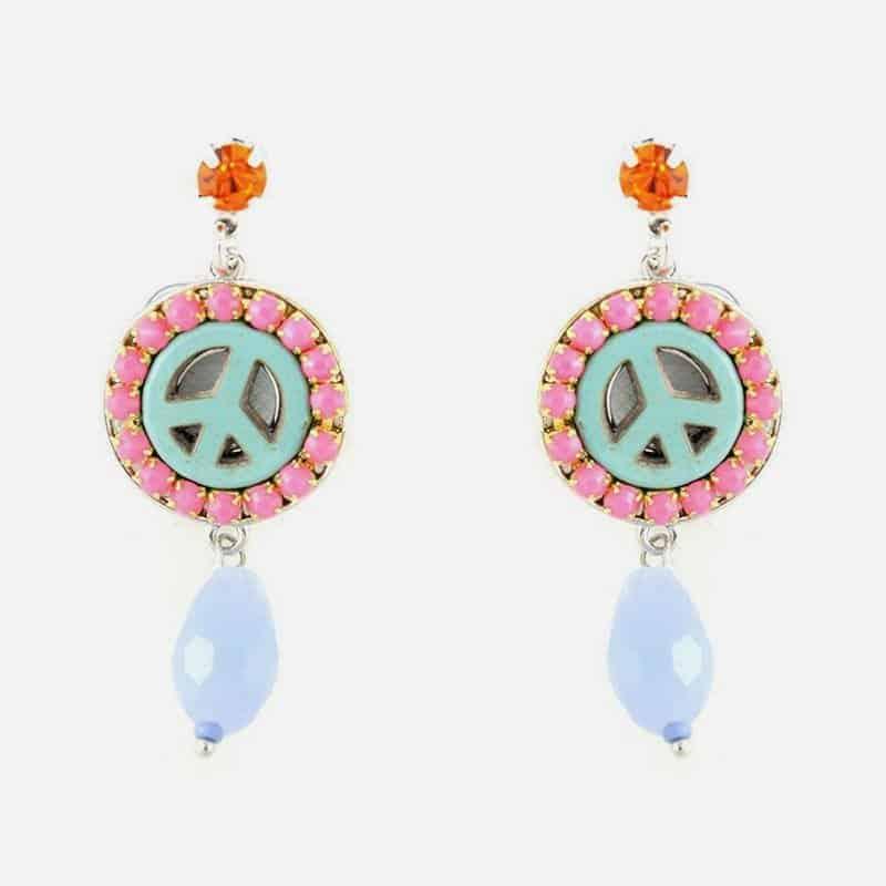 Boucles Doreilles Peace And Love Perles Et Strass