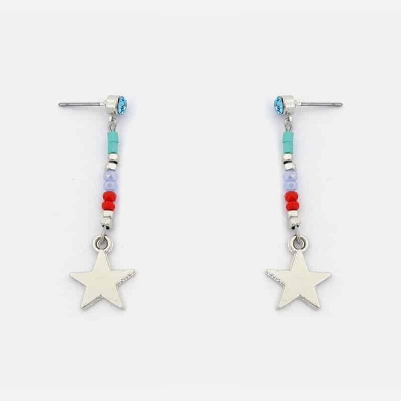 Boucles Doreilles Perles Et Etoiles Métal