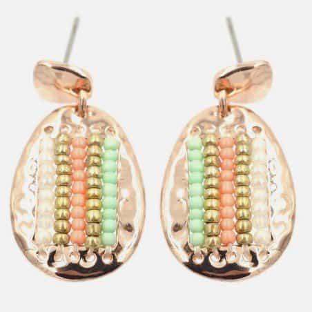 Boucle Doreille Plaque Métalique Et Perles