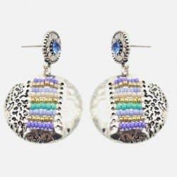 Boucle Doreille Petite Plaque Métalique Et Perles
