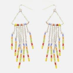 Boucle Doreille Multiples Chaines Et Perles
