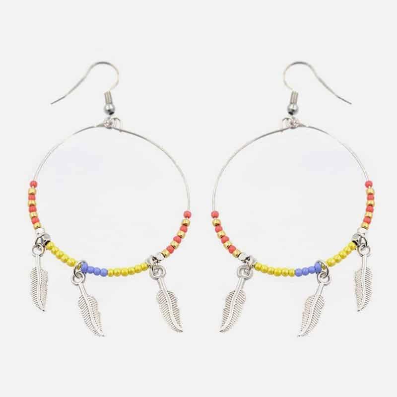 Boucle Doreille Cercle Perles Et Triple Plume