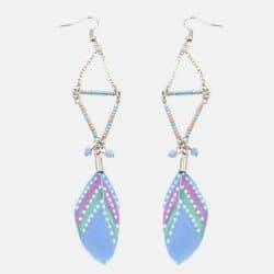 Boucle Doreille Forme Triangulaire Perles Et Plume
