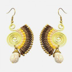 Boucle Doreille Forme Eventail Perles Et Pierres