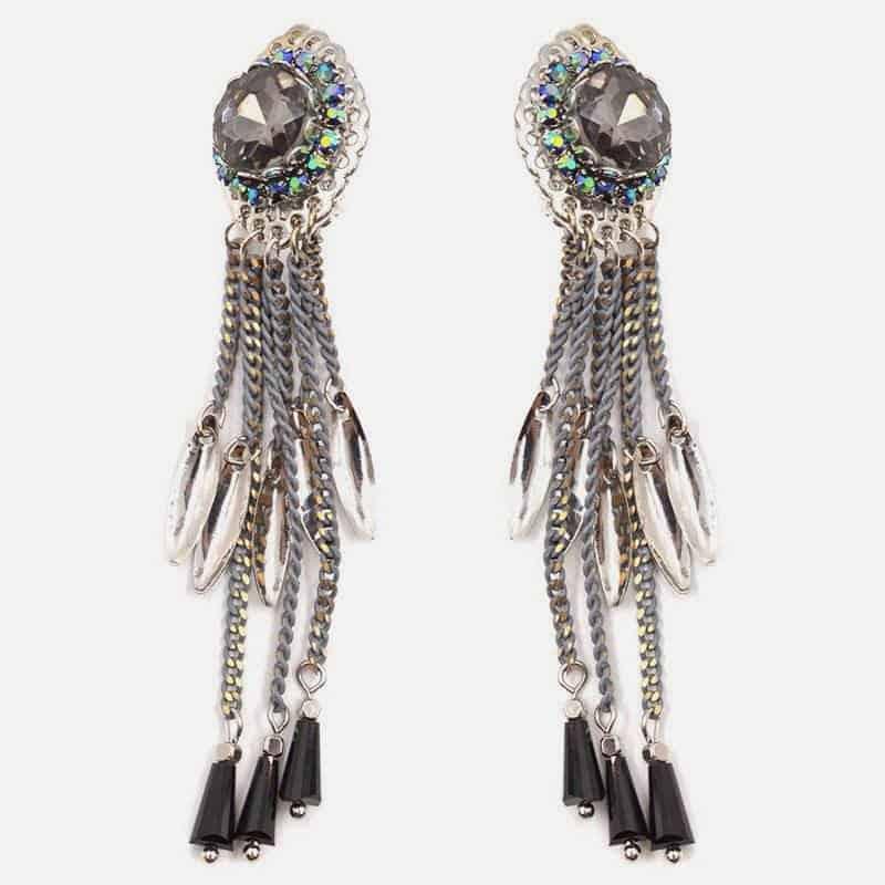 Boucle Doreille Clip Chaine Strass Et Perles