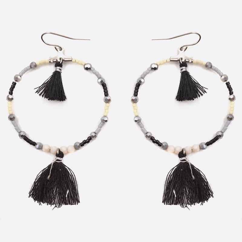 Boucle Doreille Acier Inoxydable Perles Et Double Pompons