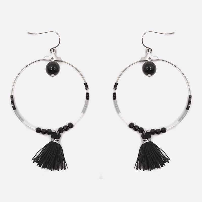 Boucle Doreille Acier Inoxydable Cercle Perles De Verre Et Pompon