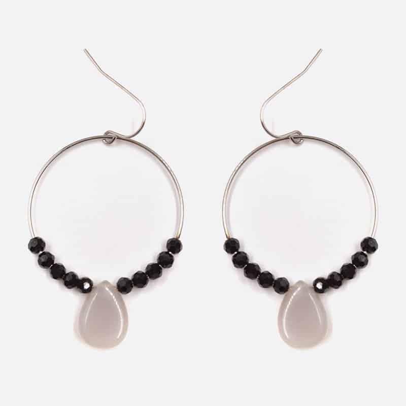 Boucle Doreille Acier Inoxydable Perles De Verre Et Pierre Naturelle
