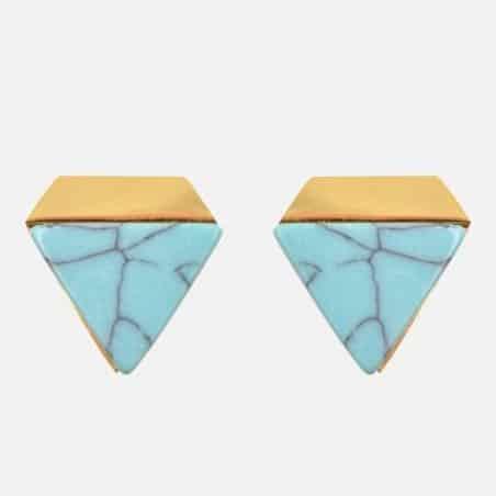 Boucles Doreilles Acier Inoxydable Triangle Et Pierre