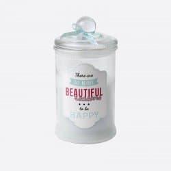 Grande Bougie Parfumée Bonbonniere Et Noeud Hauteur 18 Cm