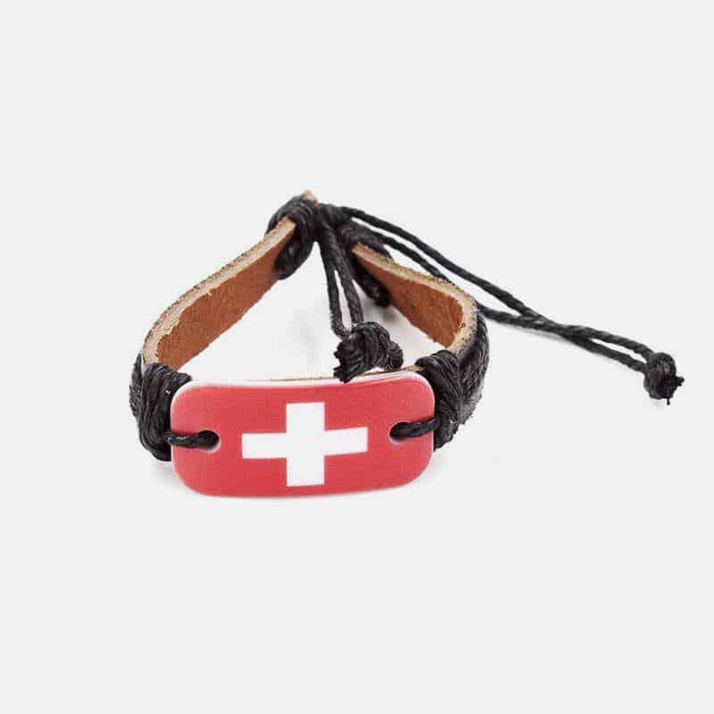 [Coupe Du Monde] Bracelet  Cuir Avec Drapeaux Des Pays