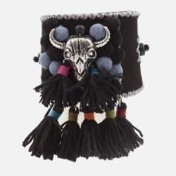 Bracelet Manchette Tête De Buffle Avec Pompons