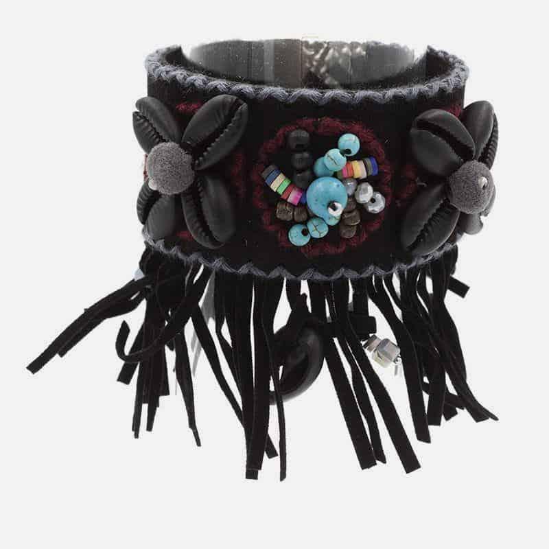 Bracelet Manchette Coquillage Perles Et Franges