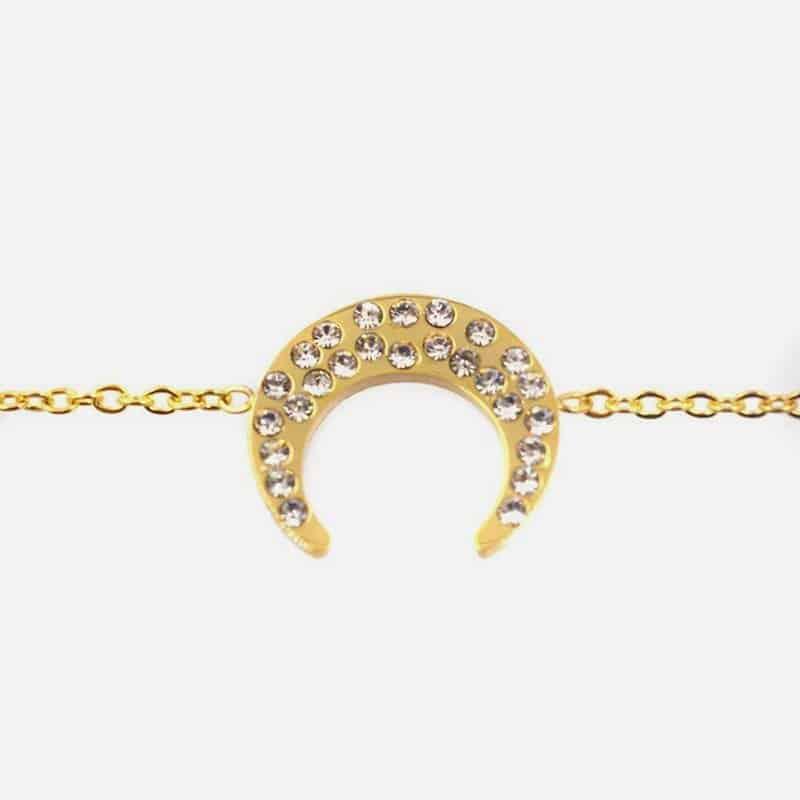 Bracelet Acier Inoxydable Croissant Et Strass