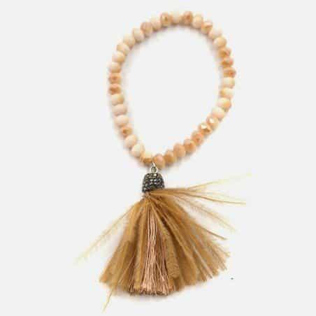 Bracelet Élastique Perles De Verre Et Pompon Plume Autruche