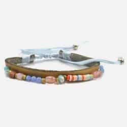Bracelet Cuir Multiples Perles