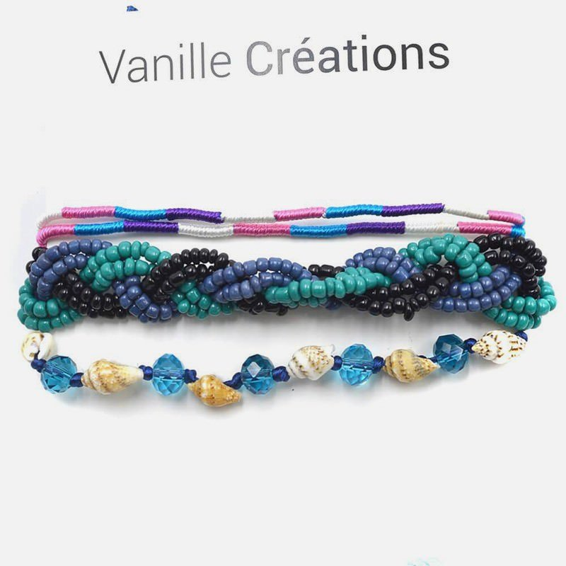 Bracelet Multirangs Perles Tresse Perles Et Coquillages