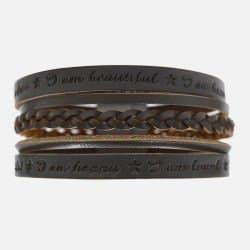 Bracelet Homme Manchette Cuir Tressé Et Citation