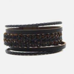 Bracelet Homme Manchette Cuir Tressé