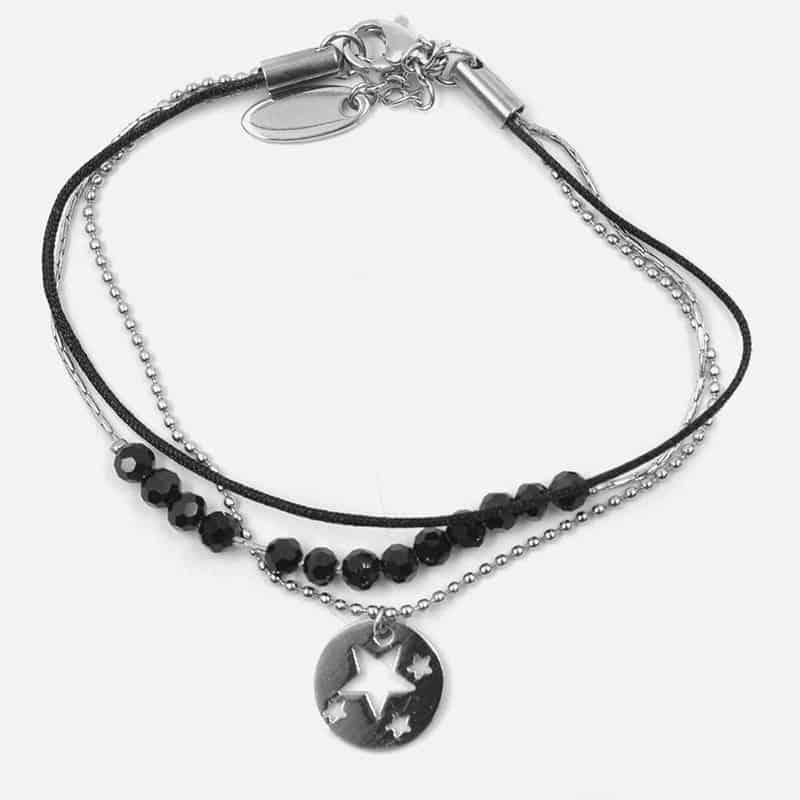 Bracelet Acier Inoxydable Triple Perles De Verre Et Etoiles