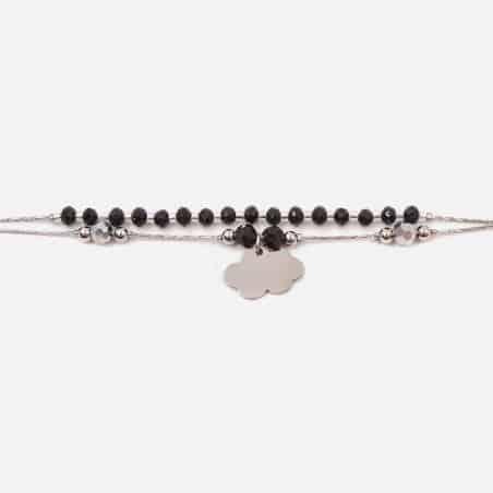 Bracelet Acier Inoxydable Double Chaines Perles De Verre Et Nuage
