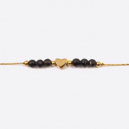 Bracelet Acier Inoxydable Perles De Verre Et Coeur