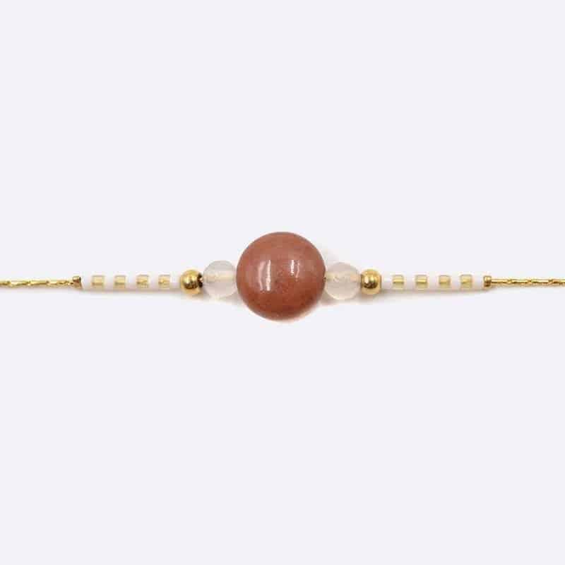 Bracelet Acier Inoxydable Perles De Verre Et Pierre Naturelle Centrale