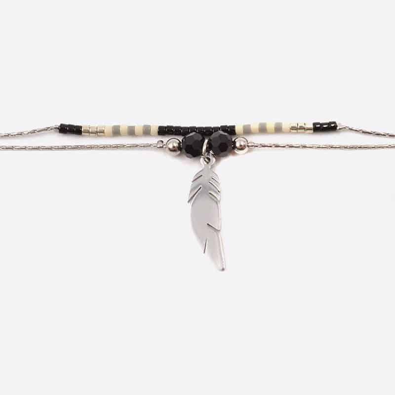 Bracelet Acier Inoxydable Double Chaines Perles De Verre Et Plume