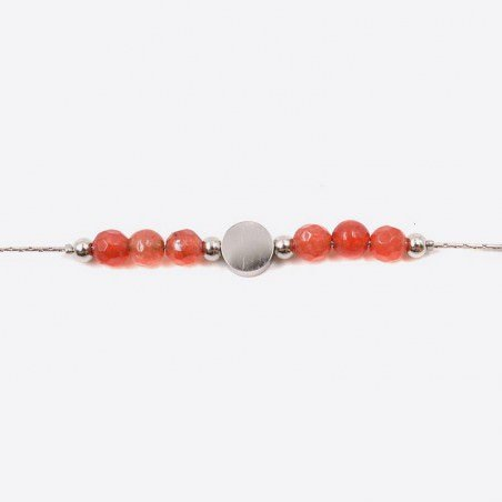 Bracelet Acier Inoxydable Perles De Verre Et Medaillon