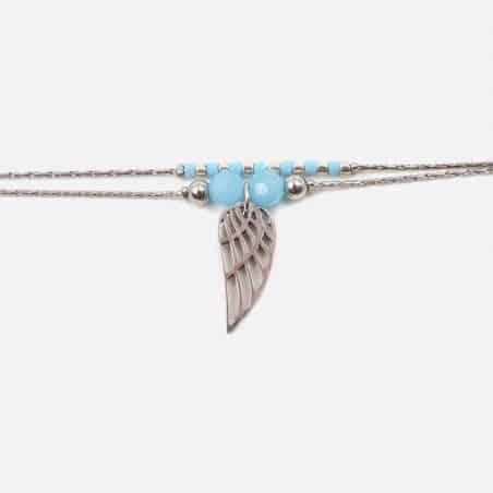 Bracelet Acier Inoxydable Double Chaines Perles De Verre Et Aile Dange