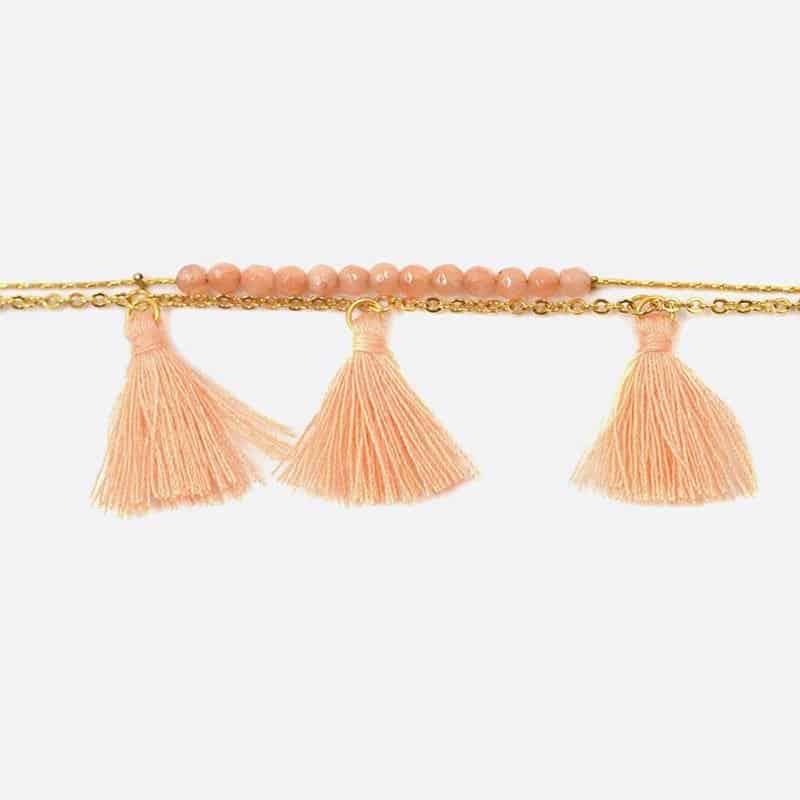 Bracelet Acier Inoxydable Double Chaines Perles De Verre Et Triples Pompons