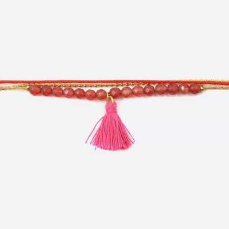 Bracelet Acier Inoxydable Triple Perles De Verre Et Pompon