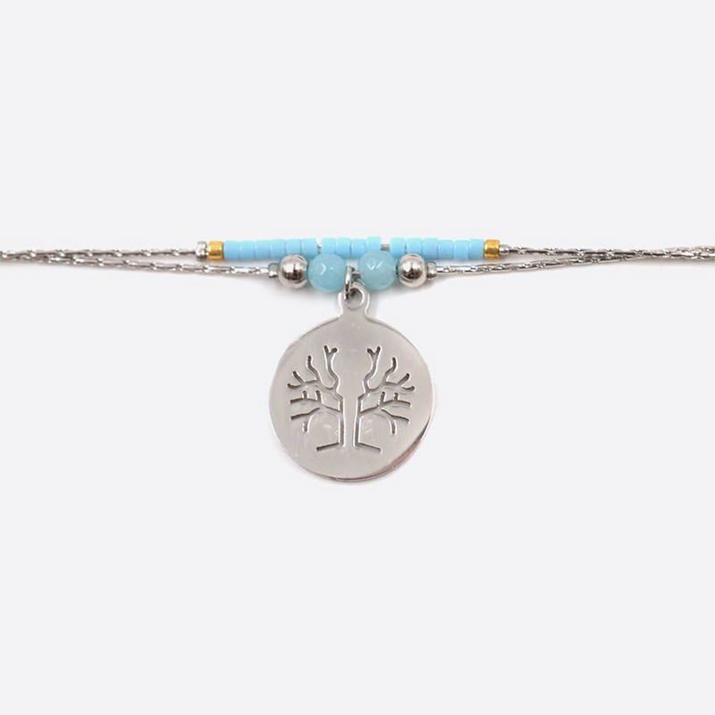 Bracelet Acier Inoxydable Double Chaine Perles De Verre Et Medaillon Arbre De Vie