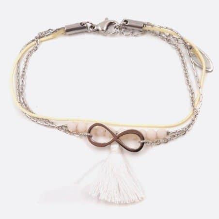 Bracelet Acier Inoxydable Perles Pompon Et Signe Infinie