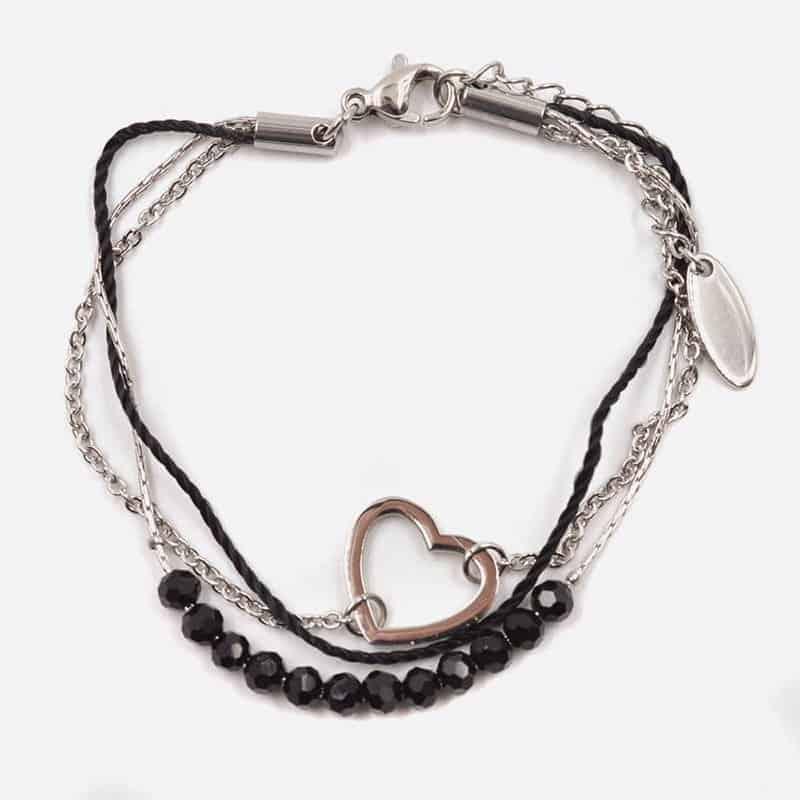 Bracelet Acier Inoxydable Triples Perles De Verre Et Coeur