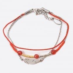 Bracelet Acier Inoxydable Trilpes Chaines Perles De Verre Perles Et Plume