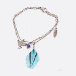 Bracelet 2 Chaines Acier Inoxydable Oiseau Et Plume