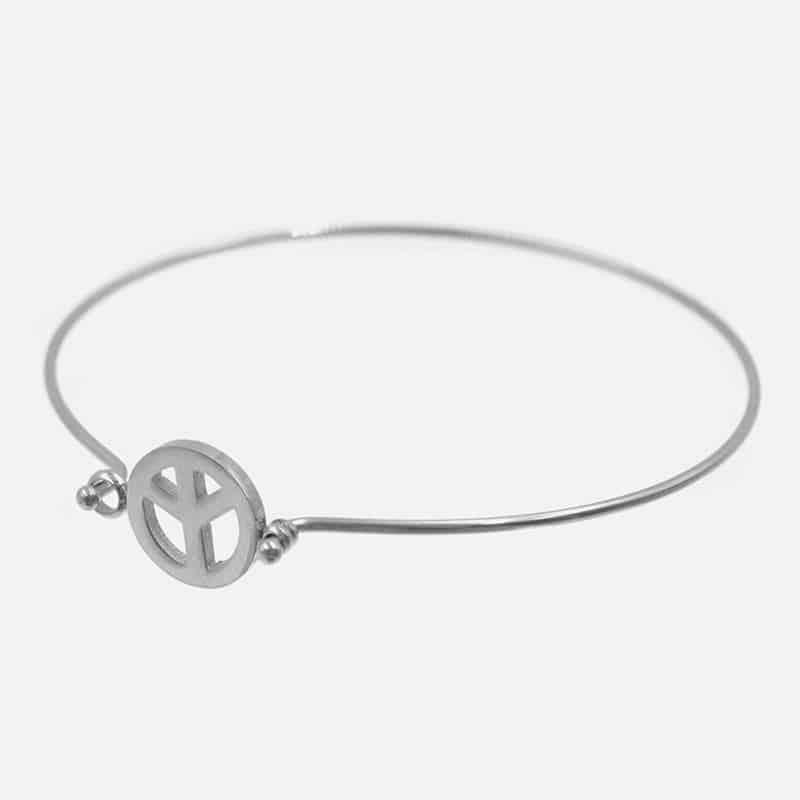 Bracelet Jonc Acier Inoxydable Peace And Love