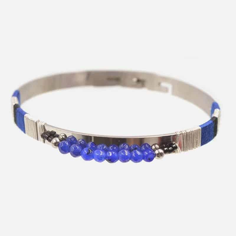 Bracelet Jonc Acier Inoxydable Perles A