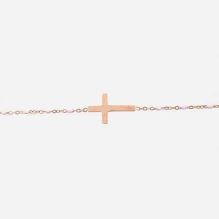 Bracelet Acier Inoxydable Croix Et Perles