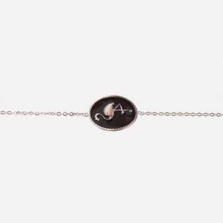 Bracelet Acier Inoxydable Médaillon Flamant Rose