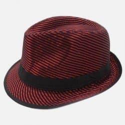 Chapeau Rayures Brillantes Ruban Noir