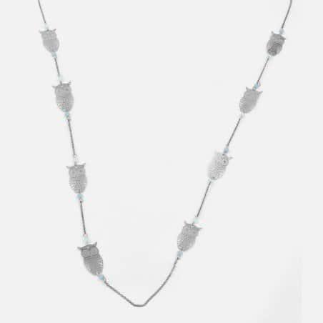 Collier Long Métal Chouette Et Perles De Verre